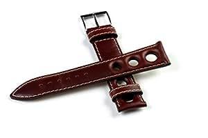 Bracelet de montre original dans un style des années 70, brun foncé, 18 mm