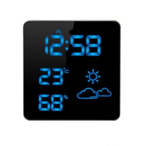 Estación meteorológica de temperatura y humedad en el interior del reloj con pronóstico del tiempo...