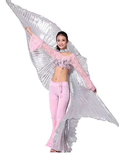 Danse du ventre costume Lndian Dance Costume Swing Wings Gradient Performance Props With Sticks Suitable Height 155-175CM purple