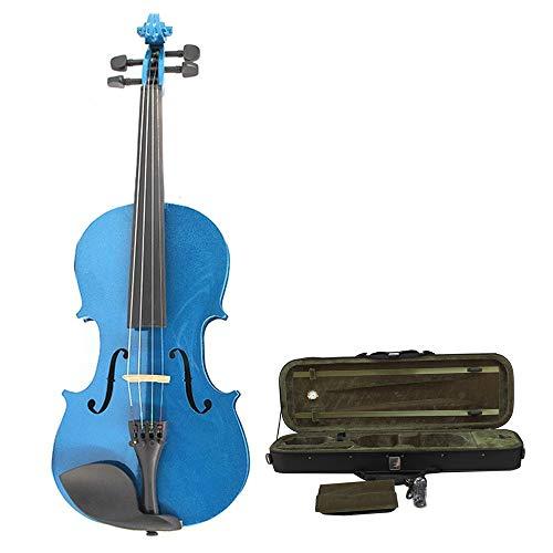 Hnks Violino Blu Fatto a Mano Acustico Lucido Completo Violino Studente principiante Multistrato Naturale in Legno massello di Olmo Violino Set con Hard Shell Arco rosone 4/4,3/4,1/2,1/4,1/8,1 /