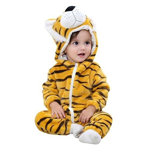 Huihong Baby Mädchen und Jungen Winter Flanell Strampler Overall Outfits Anzug Karikatur Tier Schneeanzug Jumpsuit Spielanzug (Size:100CM, Tiger) (Kinder Tiger Jacken)