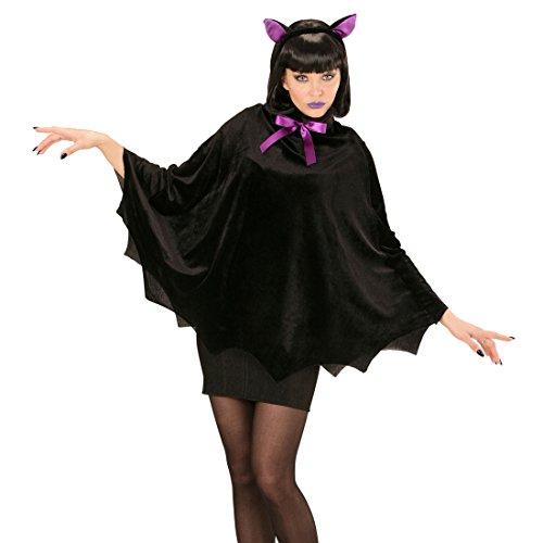 mit Ohren - Bat Cape Dracula Poncho Halloween Vampir Umhang Kostüm Accessoire Vampir Fledermausflügel Damen (Fledermaus Ohren Kostüm)