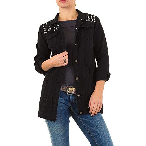 Ripped Strass Jeans Jacke Für Damen , Schwarz In Gr. L bei - Strass Jacke