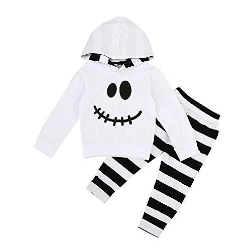 (Kinderbekleidung,Honestyi Infant Baby Boy Mädchen kleine Teufel Hood Bluse Streifen Hosen Halloween Outfits Set (80,Weiß))