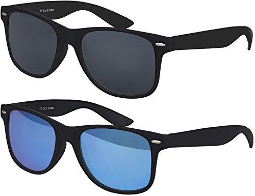 Original Balinco UV400 CAT 3 CE Vintage Unisex Retro Wayfarer Sonnenbrille - verschiedene Farben in Einzel - Doppelpack & Dreierpack wählbar (Doppelpack - Rahmen: Schwarz Matt, Gläser: 1 x Schwarz, 1 x Blau verspiegelt)
