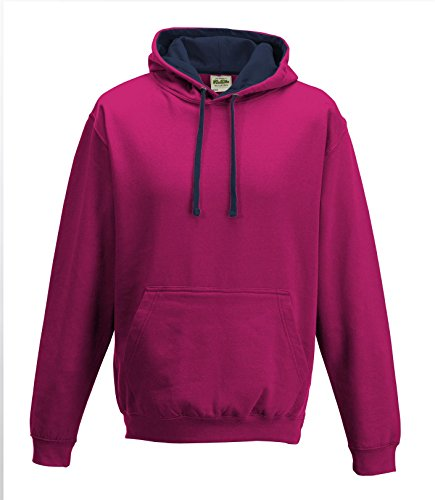 Cotton Ridge AWDis Kapuzenpulli - Hot Pink/fr Navy