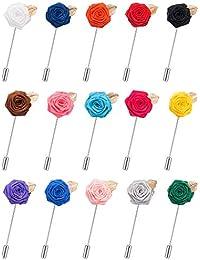 15 Piezas de Broches de Solapa de Hombre Alfileres de Flor con Hoja Juego de Boutonniere Hecho a Mano para Trajes de Novio de Boda, 15 Colores