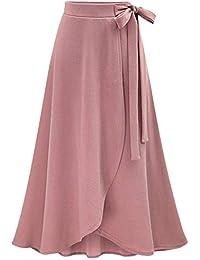 TIMEMEANS Jupe Femme Taille Haute élastique Maxi A-Line Plaid Hiver Chaud  Flare Longue Cheville 8ad220f7c41