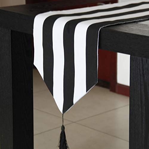 on Hochzeit Schwarz und Weiß gestreift Tisch Runners Hotel Dustproof Tisch Cloth Party Supplies ()