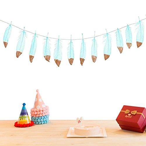 Sue, 12V, 1,8m, Glitzer, Banner mit Feder, im Boho-Stil, Anhängen, Geburtstag, Party, Dekoration, Kinder, Kinderzimmer, Deko a