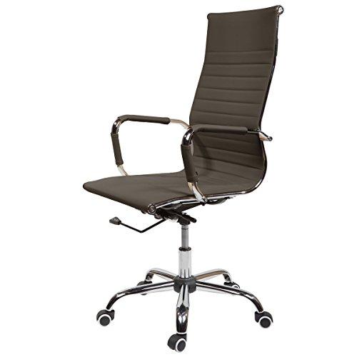 SVITA Design Bürostuhl Chrom Rahmen Elegance Chefsessel Drehstuhl Konferenz-Stuhl (Braun-Ton, Hohe...