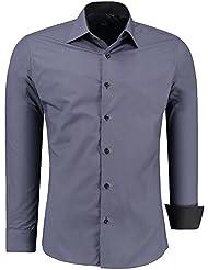 Jeel Camisa de manga larga para hombre, estilo business, para traje y tiempo libre, ajustada