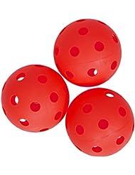 Spokey unihockey/floorball, ball-lot de 3–rouge