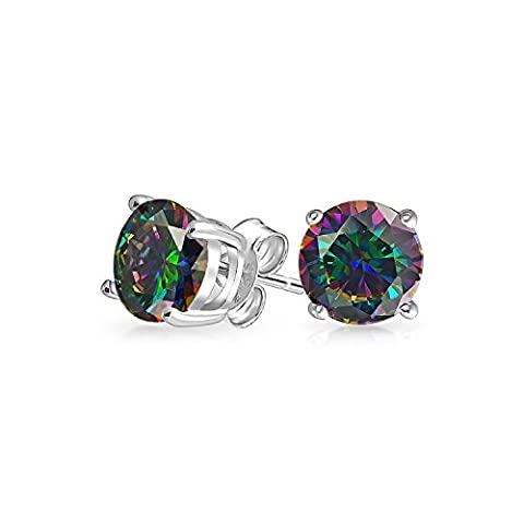 Bling Jewelry 925 Silver Simulated Rainbow Topaz CZ Stud Earrings 6mm