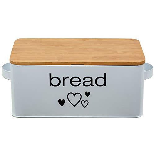 Geräumiger Brotkasten aus Metall in Farbe Weiß mit Bambusdeckel als Schneiderbret Maße 33x18x12cm mit Luftzirkulation
