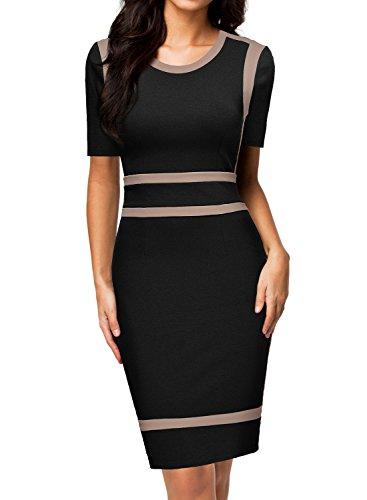 MIUSOL Damen Business Pinup Kleid schwarz L