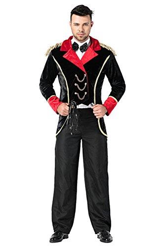 RedJade Kostüm Warlock Halloween Horror Zauberer Magier Hexenmeister Set:( Hut, Mantel, Hemd, Hose) Schwarz Herren (Warlock Kostüm Für Erwachsene)