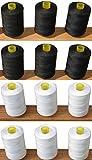 12Nähen Overlock 100% reine Baumwolle Fäden (6weiß + 6Schwarz) für Nähmaschinen/Hand Nähte je 1.000Meter–Ideal für Nähen, Quilten und vieles mehr verwenden.