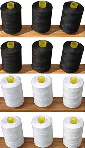 12Nähen Overlock 100% reine Baumwolle Fäden (6weiß + 6Schwarz) für Nähmaschinen/Hand Nähte je 1.000Meter–Ideal für Nähen, Quilten und vieles mehr verwenden. (Nylon-faden Overlock)