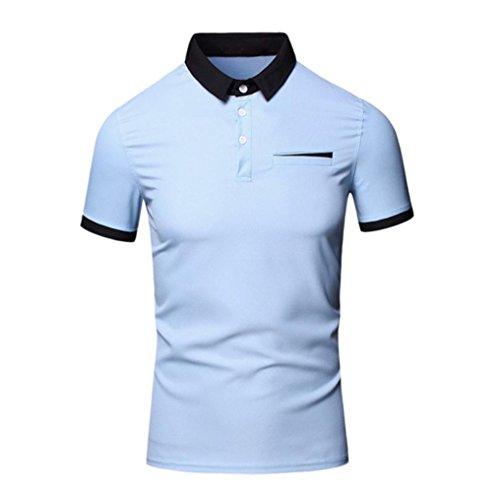 OverDose Männer Sommer Turn down Kragen Pullover Tops Bluse Chiffon Kurzarm T-Shirt Blau