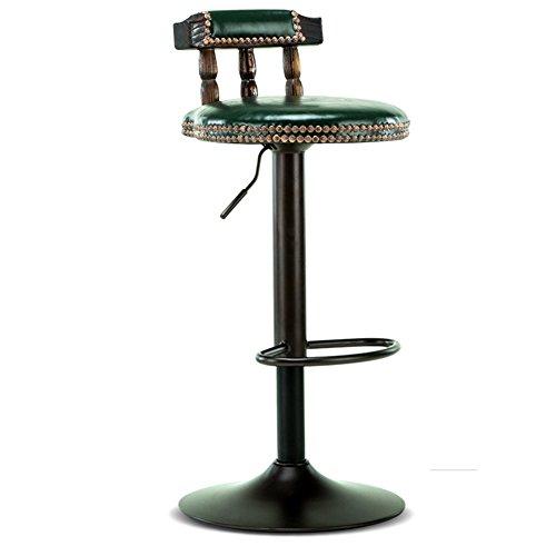 Xin-stool Silla de Madera sólida de la Barra/elevación Taburete de la Barra de la rotación/Taburete Alto Retro de la recepción/Silla de Cuero de la PU, Accesorios de la Pintura (Color : E)