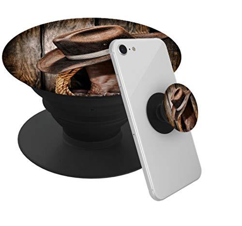 Surpecase - Expanding Handy Sockel Stand Collapseble Grip Pop Mount für Smartphones und Tablets Kickstand - Reitstiefel und Cowboy-Hut