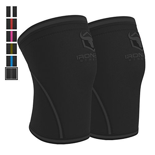 Kniebandage 7mm (1 Paar) - Knee Sleeves Hochleistungskniestützhülle für Gewichtheben, Powerlifting & Crossfit - Knee Wraps & Straps - Bietet Kompression, Wärme & Unterstützung (L, Schwarz/Schwarz)
