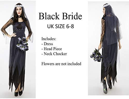 Womens Tote Braut Kostüm - eBoutik Damen Deadly Bride Black Veil Medium Größe 36-38 Kostüm Halloween Womens