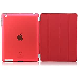 DNG Smart Magnetic Case Cover + Slim Matte Back Case Cover For Apple Ipad 2,3 And 4 Red