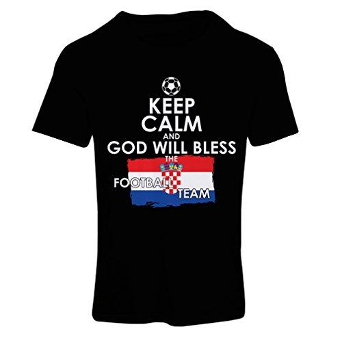 Frauen T-Shirt Keep Calm and God will Bless the Croatian football team (XX-Large Schwarz Mehrfarben) (Chad T-shirt Flag)
