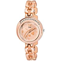 Dlady Diamond Studded Copper Colour Analog Watch for Women