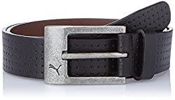 Puma Black and Antique Silver Buckle Leather Mens Belt (5260601-S)
