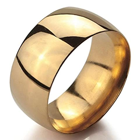 Epinki,Men Women's Wide 10mm Stainless Steel Rings Band Gold Classic Wedding Polished Size P 1/2