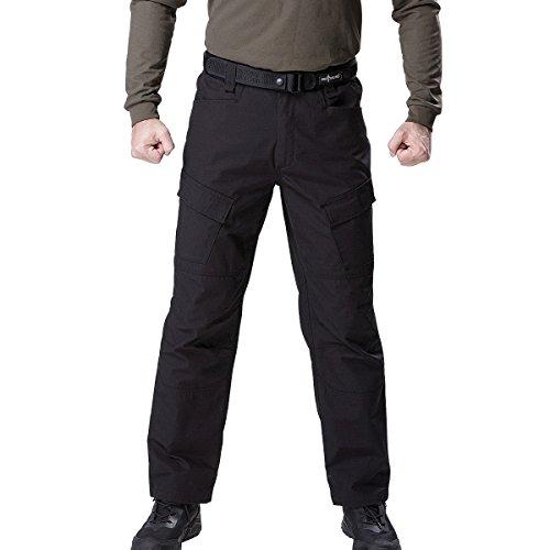 FREE SOLDIER Herren Cargo Arbeitshose mehrere Pocket Combat Hose für Wandern Klettern Taktische Hose - Schwarz - 34W/31L Double Pocket Cargo