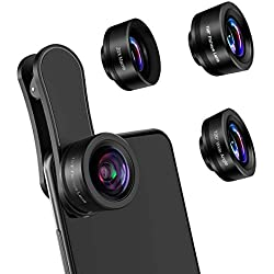 AFAITH Objectif de Caméra pour Smartphone, 3 en 1 Kit d'Agrafe de Lentille de Téléphone Portable, Objectif Macro 20X & Objectif Fisheye 198 ° & Objectif Grand Angle 120 ° pour iPhone Samsung Huawei