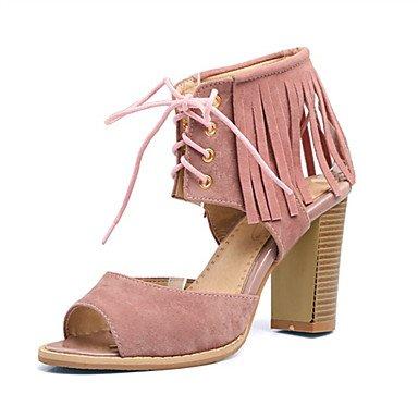LvYuan Da donna-Sandali-Matrimonio Formale Casual-Altro Innovativo Club Shoes-Quadrato-Felpato Materiali personalizzati-Nero Rosa Rosso Beige Red