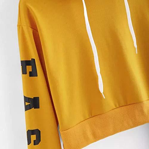 Deman outfit-Artistic9 Damen Cropped Hoodie Sweatshirt Plain Langarm Pullover T Shirts Kordelzug Brief Drucken Bluse Damen Frühling Herbst Casual Yoga Workout Tops (Cropped Übergröße Kostüm)