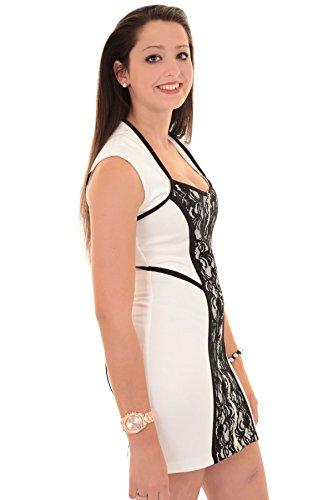 SAPHIR BOUTIQUE Damen Reißverschluss Vorne ärmellos Kontrast Paneel Blumen Spitze Smart Mini Bodycon Kleid Weiß