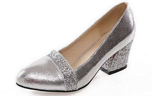 AllhqFashion Damen Rund Zehe Mittler Absatz Ziehen Auf Gemischte Farbe Pumps Schuhe Silber