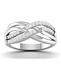 Vijisan 0.72 Ct. White Rhodium Plated 925 Sterling Silver Eternity Ring For Women