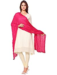 Nakoda Creation Women's Solid Cotton Pink Dupatta(Pack Of 1)