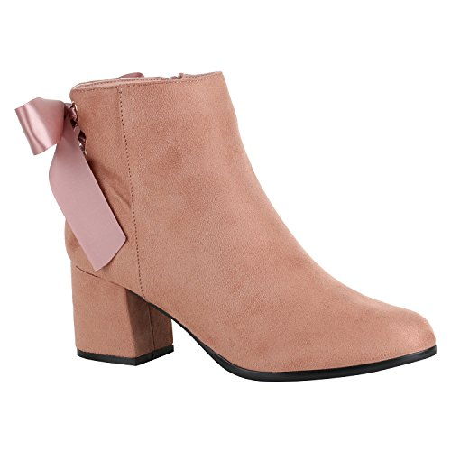Klassische Damen Stiefeletten Lack Block Absatz Leder-Optik Schuhe 149025 Rosa Schleifen 38 Flandell