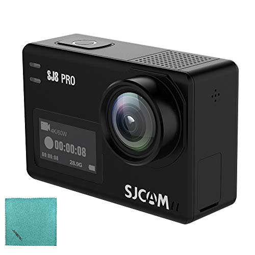 SJCAM SJ8 Pro Action Kamera 4K / 60FPS Wifi Sport Cam 2,3 Zoll Touchscreen mit 170 ° Weitwinkel Eis 8X Digital Zoom Wasserdichte Kamera Schwarz Bare-Metal-Version - Sjcam Wifi 4000