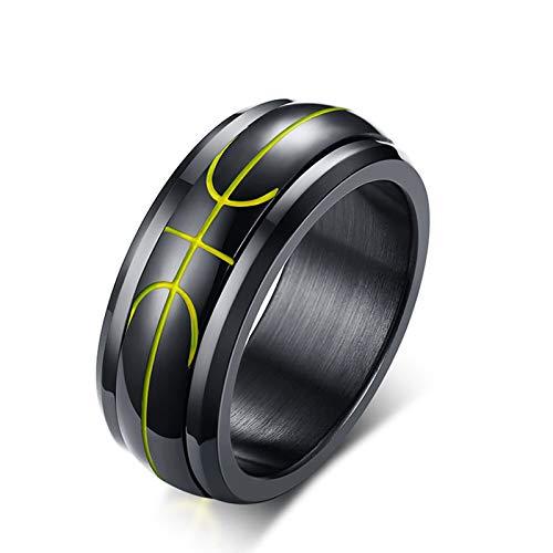Gnzoe gioielli-acciaio inossidabile 316l ipoallergenico modello di linea di pallacanestro spinner anello per gli uomini nero misura 25