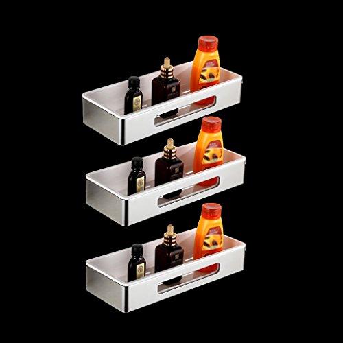 JXXDQ Badezimmer-Regal des Edelstahl-304, Silberner rechteckiger Speicher-Netz-Korb, zerlegen (Größe : 3 Tier) (Silber-netz-speicher-korb)