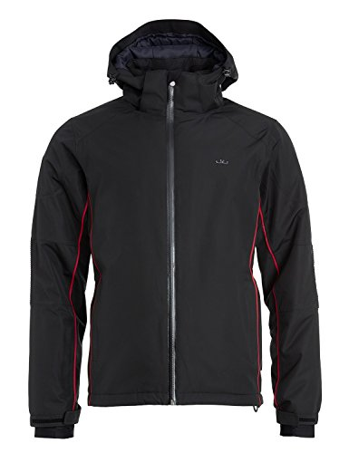 Jeff Green Herren Gefütterte Atmungsaktive Wasserdichte Sympatex Outdoor Funktions Ski Jacke Albert 20.000mm Wassersäule, Größe - Herren:50, Farbe:Black