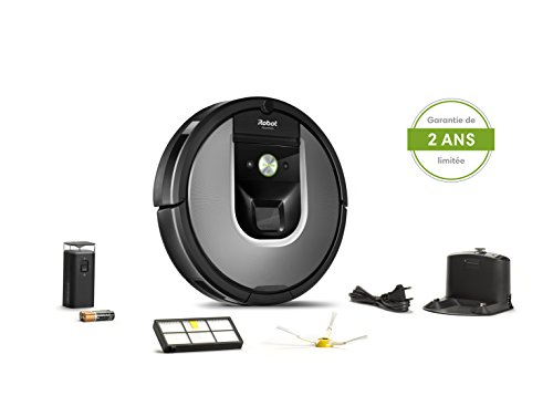 41TyEvmatkL [Bon Plan ] iRobot Roomba 960, aspirateur robot avec forte puissance d'aspiration, 2 brosses anti-emmêlement, idéal pour animaux, capteurs de poussière, parfait sur tapis et sols, connecté, programmable via app