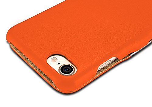 Luxus Tasche für Apple iPhone 8 und iPhone 7 (4.7 Zoll) / Case mit Echt-Leder Außenseite / Case mit Echt-Leder Außenseite / Schutz-Hülle seitlich aufklappbar / ultra-slim Cover / Etui mit Textil-Innen Orange - glatt