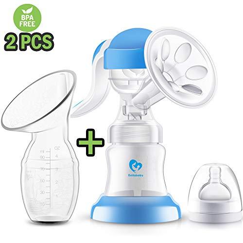 Sacaleches Manual, [2 paquetes] Bellababy extractor de leche materna portátiles de silicona con tapa, BPA gratis y 100% de silicona de grado alimentario, Bomba pequeña de leche materna para la madre