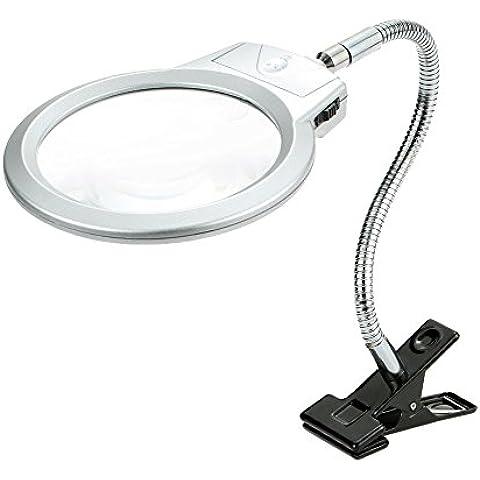 KKmoon LED Iluminador Ampliador Manguera de Metal Lupa Escritorio Mesa de Iluminación de la Lámpara de Lectura 2.5X 107MM 5X 24MM con Abrazadera